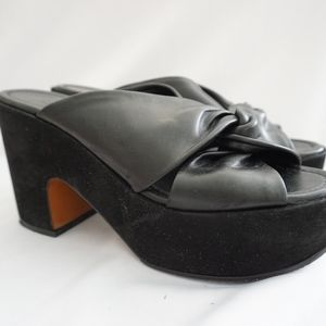 Robert Clergerie Black Leather Wedge Sandals 39.5